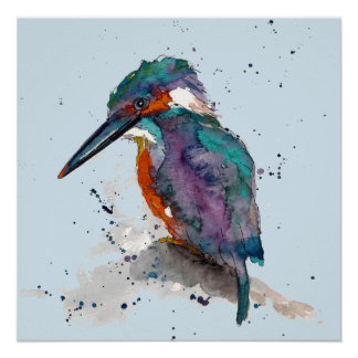 Poster with multicolored handpainted kingfisher