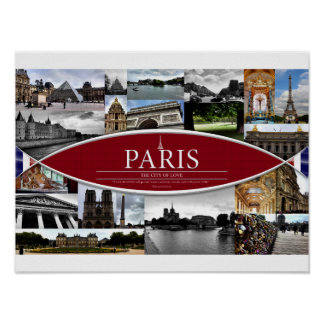 Poster with Scenes from Paris