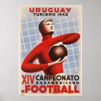 Poster with Vintage Copa de America Soccer Print