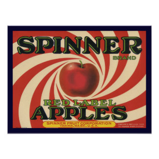 Poster with Vintage Crate Label Print for Apples