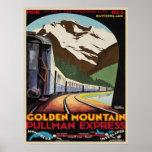 Poster with Vintage Ski Resorts Print