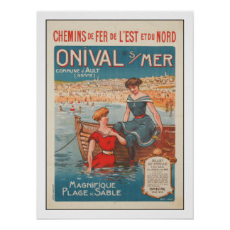 Poster with Vintage Summer Print from France