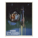 Poster with Vintage USSR Space Program Propaganda