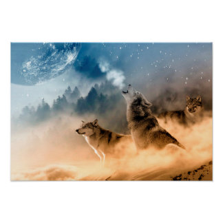 Poster/Wolves Howling at the Moon Poster