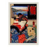 Poster: Woman with Cat - Japanese Art - Kuniyoshi Poster