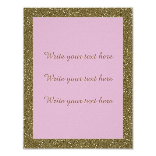 Poster Write Your Own Text, gold, pink, vertical