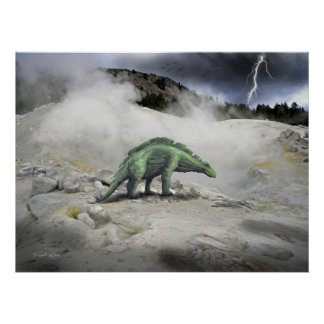 Poster ~ Wuerhosaurus Near Volcanic Vent