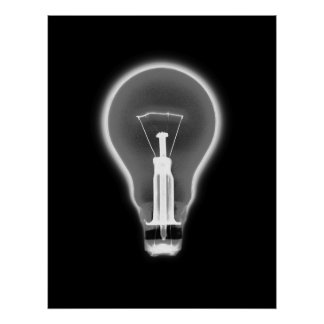 Poster- X-RAY LIGHT BULB BLACK B&W Poster