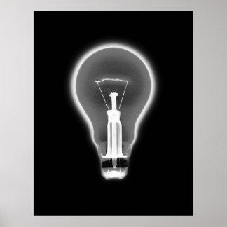 Poster- X-RAY LIGHT BULB BLACK B&W Poster