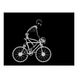 POSTER - X-RAY SKELETON BIKING BLACK GREY