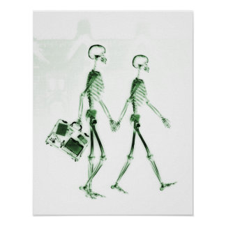 Poster- X-Ray Skeleton Couple Traveling Green Poster