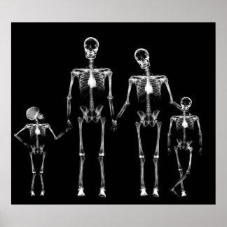 POSTER - X-RAY SKELETON FAMILY BLACK & WHITE