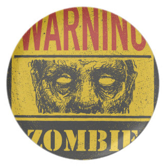 Poster Zombie Outbreak. Sign Board With Zombie Plate