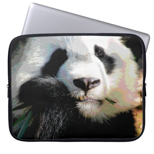 Posterised Cute Panda Bear Eating Bamboo Closeup Laptop