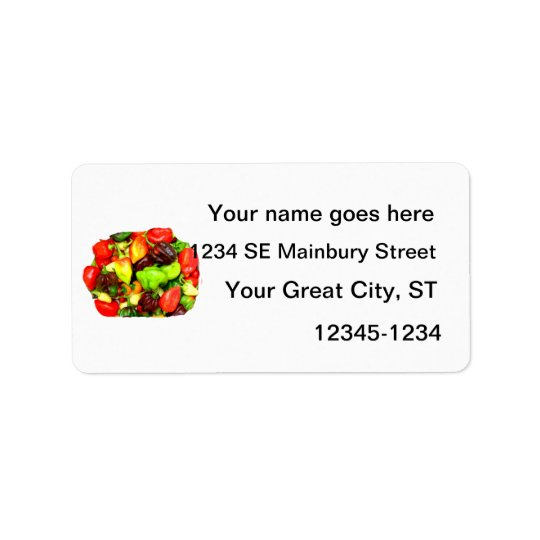 Posterised Hot Pepper Assortment Picture Address Label