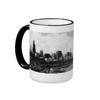 Posterized Chicago Skyline Coffee Mug