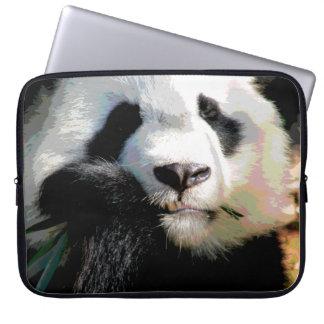 Posterized Cute Panda Bear Eating Bamboo Closeup Laptop Sleeve