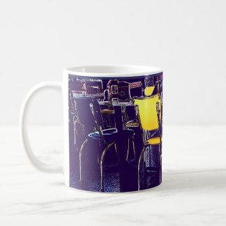Posterized Digital Realism Diner Chairs Purple Basic White Mug