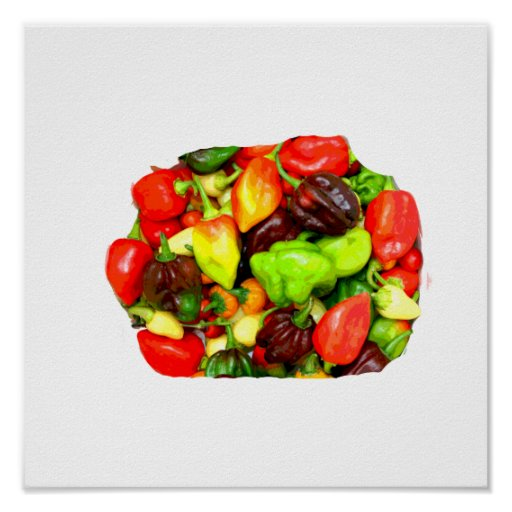 Posterized Hot Pepper Assortment Picture Poster