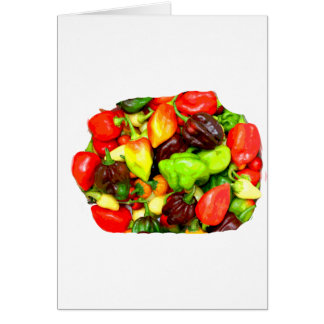 Posterized Hot Pepper Assortment Picture Greeting Card