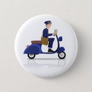 2811d5ed9db4ea Postman on Scooter 6 Cm Round Badge