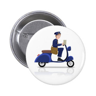 Postman on Scooter 6 Cm Round Badge