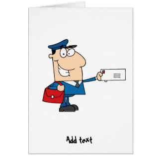Postman postal worker cartoon mascot personalized greeting card