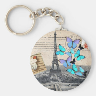 postmark scripts butterfly Paris Effiel Tower Basic Round Button Key Ring