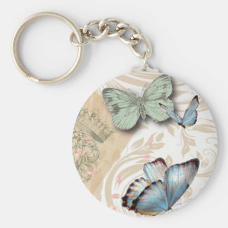 postmark scripts butterfly Paris Effiel Tower Basic Round Button Key Ring