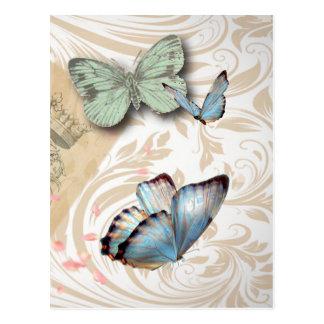 postmark scripts butterfly Paris Effiel Tower Postcard