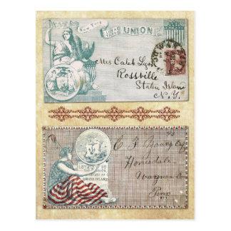 Postmarked Civil War Envelopes with Columbia Postcard