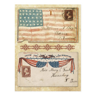 Postmarked Civil War Envelopes with the U.S. Flag Post Cards