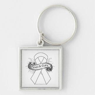 Postpartum Depression Find A Cure Ribbon Silver-Colored Square Key Ring