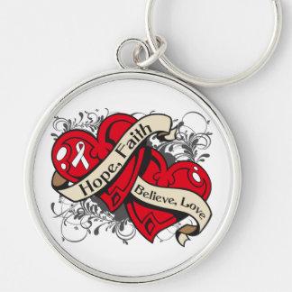 Postpartum Depression Hope Faith Dual Hearts Keychains
