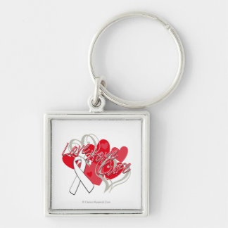 Postpartum Depression Love Hope Cure Silver-Colored Square Key Ring