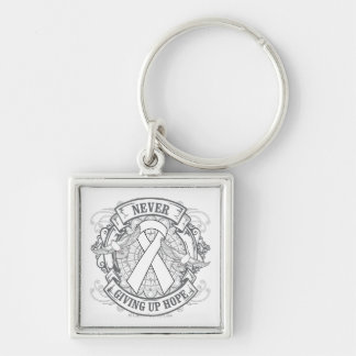 Postpartum Depression Never Giving Up Hope Silver-Colored Square Key Ring