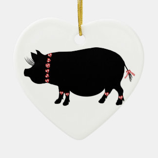 Pot Bellie Pig (Red) Christmas Ornament