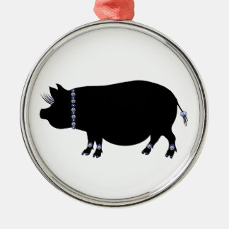 Pot Belly Pig Girl in Blue Silver-Colored Round Decoration