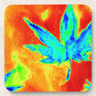 Pot Leaves In Heated Up Image Coaster