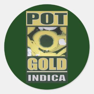 POT O GOLD INDICA ROUND STICKER