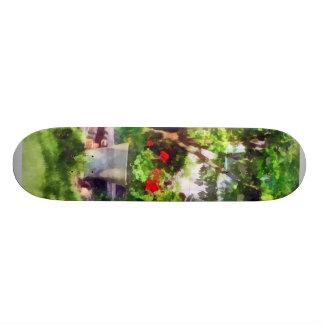 Pot of Geraniums Near Steps Skate Board