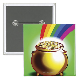 Pot of gold and rainbow 15 cm square badge