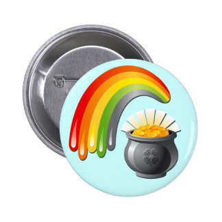 POT OF GOLD AND RAINBOW 6 CM ROUND BADGE