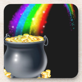 Pot of gold and rainbow beverage coaster
