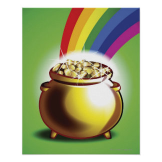Pot of gold and rainbow poster