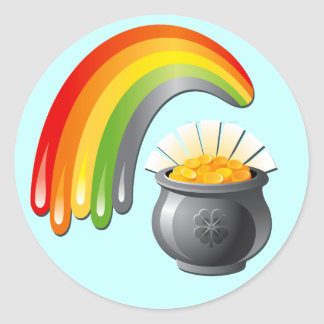 POT OF GOLD AND RAINBOW ROUND STICKER