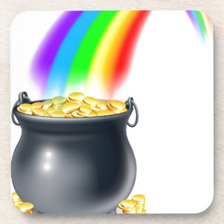 Pot of gold at the end of the rainbow drink coasters