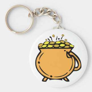 Pot Of Gold Basic Round Button Key Ring