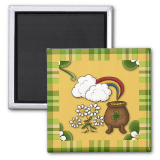Pot of Gold Plaid St. Patrick's Fridge Magnet