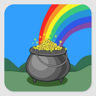 Pot of Gold & Rainbow Square Sticker